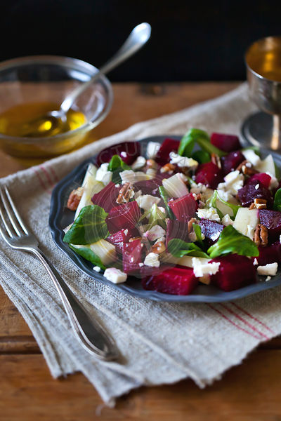 Beetroot, pear and Feta cheese salad