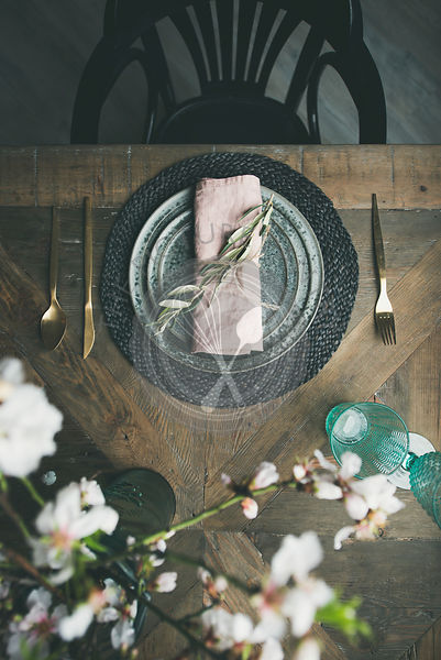 Flat-lay of Spring Easter Table setting with flowers