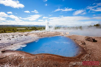 Hot geothermal pools and geyser, Geysir, Iceland
