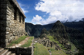 View of Machu Picchu and Huayna Picchu mountain from alongside Watchmans Hut, Peru