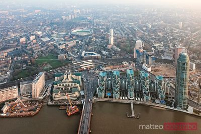 Aerial view over Vauxhall residential district, London