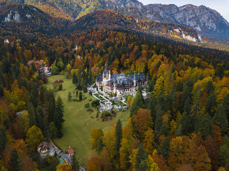 Elevated View of Peles Castle