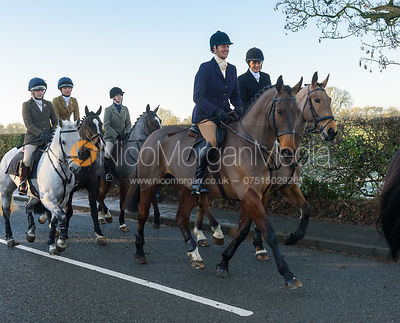 Debbie Barnes, Anna Hanson leaving the meet - The Cottesmore Hunt at Pickwell Manor 28/12