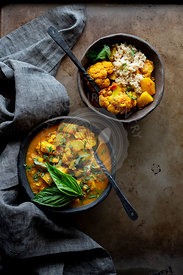 Indian Vegan curry dinner