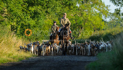 Andrew Osborne and Hartley Crouch lead hound exercise for the Cottesmore Hounds