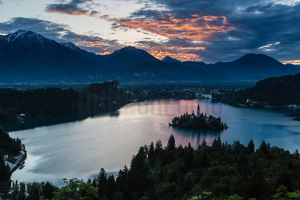 Elevated View of Lake Bled and the Church of the Assumption at Sunrise