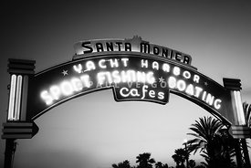 Santa Monica Pier Sign in Black and White
