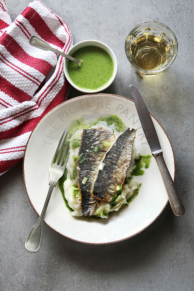 Two fillets of grilled mackerel fish on a plate with mashed potatoes and salsa verde.Top view