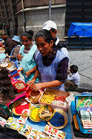 Stall selling miniature bank notes and lucky charms, Alasitas festival, La Paz, Bolivia