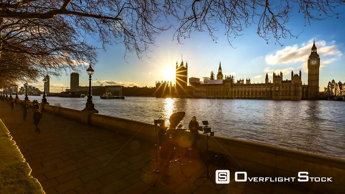 Time Lapse Palace of Westminster House of Commons Parliament Builidings on River Thames England