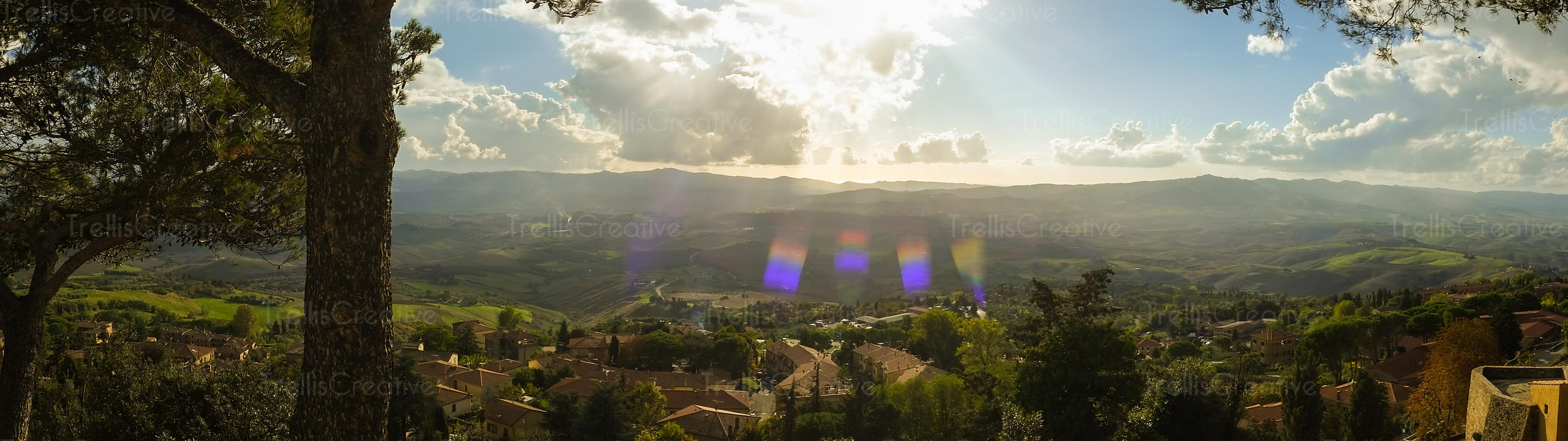 View of the countryside from the hilltop town of Volterra, Italy