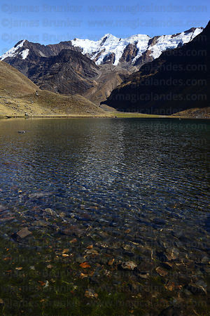 Snowy peaks and Lake Chechoja, Cordillera Apolobamba , Bolivia