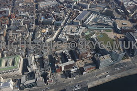 Liverpool high level view of  Derby Square and Liverpool Crown Court and Combine Magistrates Courts St James Street,