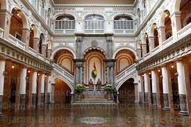 Main courtyard on ground floor inside Presidential Palace, La Paz, Bolivia