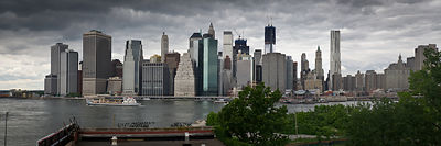 Lower Manhattan from Brooklyn panorama 1