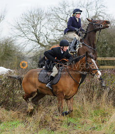 Jimmy Quinn jumping a hedge near Mrs Wilson's covert