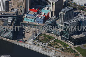 Manchester  aerial photograph of the BBC Studios Media City Apartments and Hotels Salford Quays