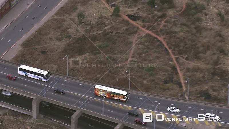 Aerial shot of the Springbok rugby team's bus travelling along the highway Johannesburg Gauteng South Africa