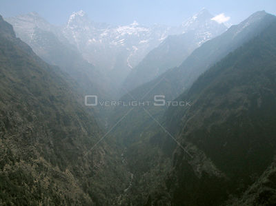 NEPAL Phungi Valley -- 16 Apr 2005 -- Aerial view of the Phungi Khola River in the Phungi Valley, behind is the Hinku Himal m...
