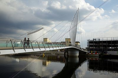 The Media City Footbridge with the New ITV Studios under Construction
