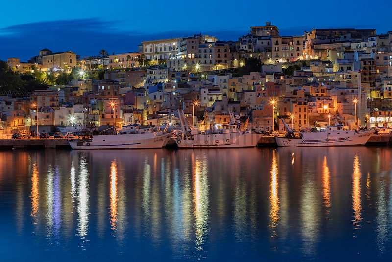 Skyline of the Port and City of Sciacca at Dusk