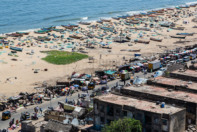 Elevated View of a Slum and Fish Market at Marina Beach