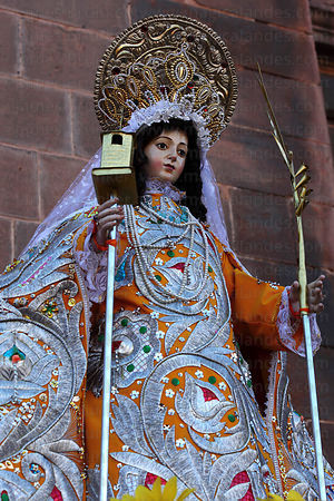 Figure of Santa Barbara , Corpus Christi festival , Cusco , Peru