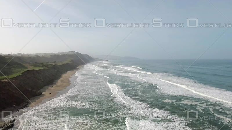 Coastline Over Shore Beach White Waves Hazy Day Summer Reverse. California