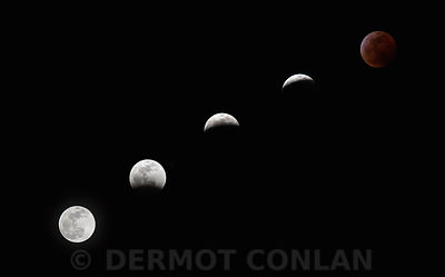 Phases of Blood Wolf Moon Eclipse