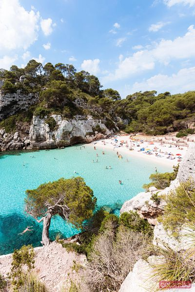Cala Macarelleta beach at daytime, Menorca, Spain