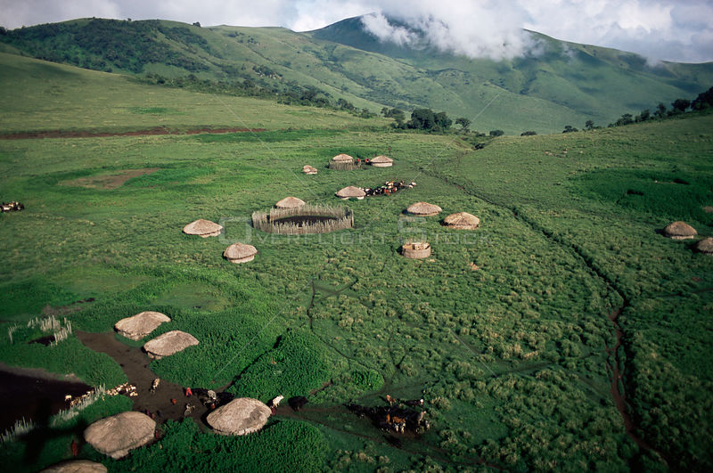 Aerial view of village huts in Crater Highlands, Ngorongoro conservation area, Tanzania.