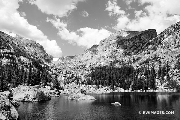 LAKE HAIYAHA ROCKY MOUNTAIN NATIONAL PARK COLORADO BLACK AND WHITE