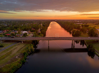 Nepean River Penrith on a beautiful sunrise morning in late summer. NSW Australia