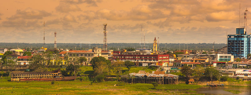 Iquitos city at sunset, River Amazon, Peru, July 2015.