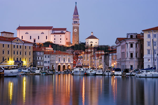 The Town and Harbour of Piran and St George's Church at Dusk, Slovenia