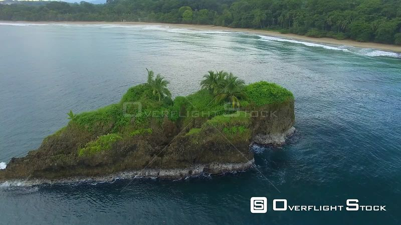Small Tropical Island off Playa Cocles Beach Caribbean Sea Costa Rica Beach Drone Video