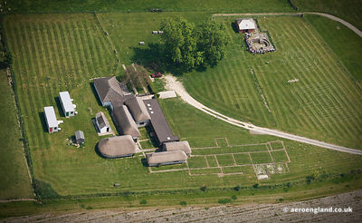 aerial photograph of Bignor Roman Villa West Sussex  England UK