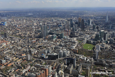 aerial photograph of the area around City Rd London EC1Y 2BP showing Old St EC1V 9DD in the foreground and the City of London...