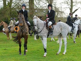 Chloe and Tom Jonason at the meet at Goadby Hall - The Belvoir Hunt at Goadby Hall 24/12