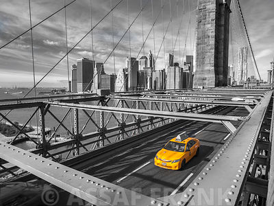 Cab on Brooklyn Bridge, Manhattan, New York