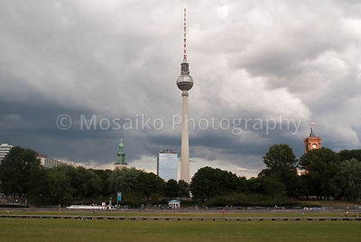 The TV Tower in Berlin Alexanderplatz and the Rotes Rathaus.