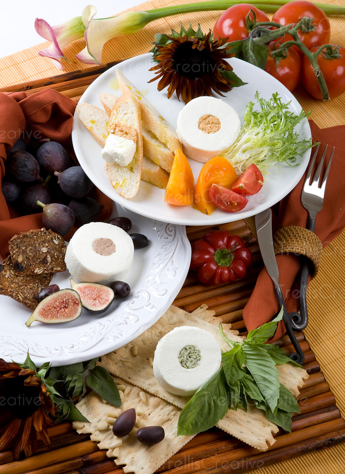 Three goat cheese plates with fruits and vegetables