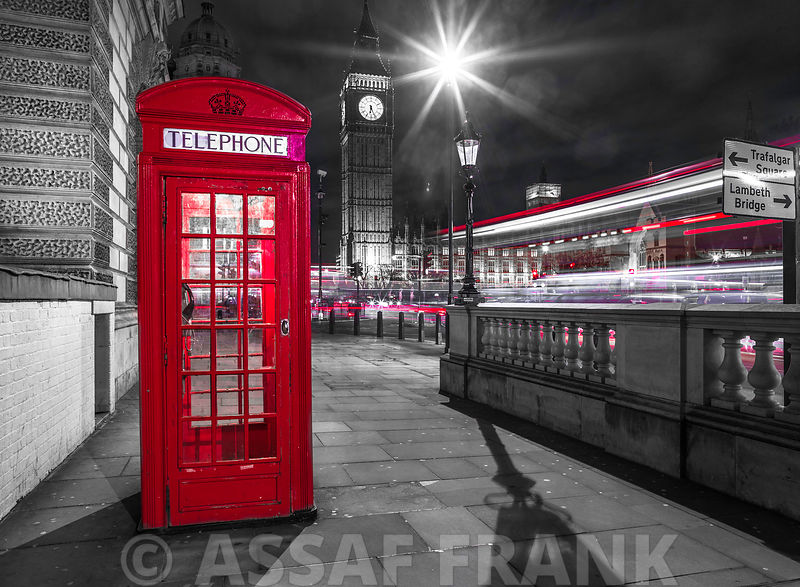 Telephone box with Big Ben, London, Uk