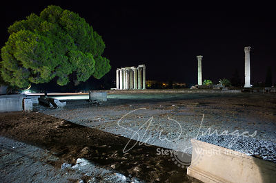The Temple of Olympian Zeus at night - Athens, Greece