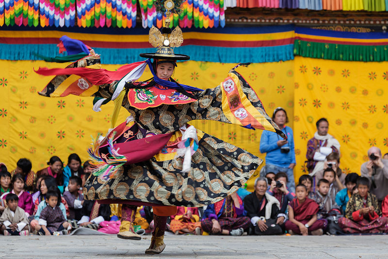 Performer During the Black Hat Dance during the first Day of the Punakha Tshechu Festival