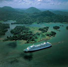 Aerial view of cruise ship sailing down coast of Panama, Central America