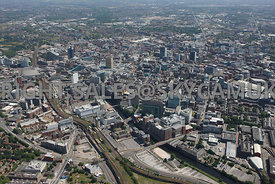 Manchester wide angle high level view of Manchester with Salford Central station and Spinningfield and the river Irwell in th...