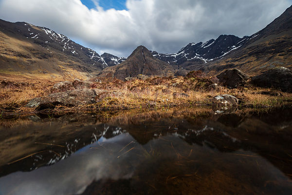 Black Cuilin Range Reflected in a Clear Pool at the Fairy Pools Natural Area