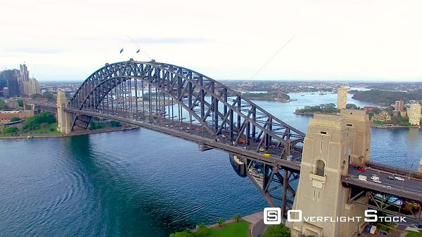 Traffic on Sydney Harbour Bridge Drone Video Australia