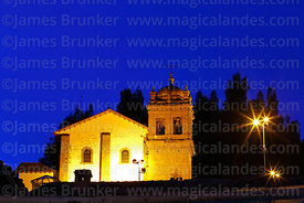 San Cristobal church at twilight, Cusco, Peru